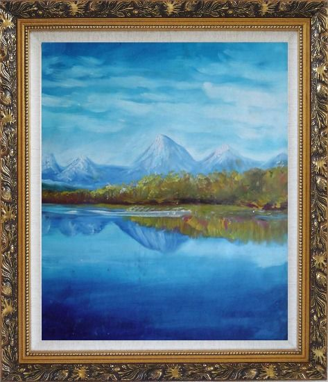 Framed Reflections of Snow Mountains and Yellow Trees on Lake Oil Painting Landscape River Impressionism Ornate Antique Dark Gold Wood Frame 30 x 26 Inches