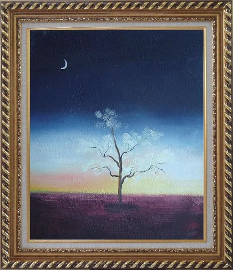 Framed Lonely Tree Under Crescent Moon Oil Painting Landscape Impressionism Exquisite Gold Wood Frame 30 x 26 Inches