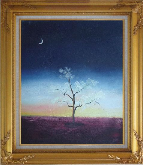 Framed Lonely Tree Under Crescent Moon Oil Painting Landscape Impressionism Gold Wood Frame with Deco Corners 31 x 27 Inches