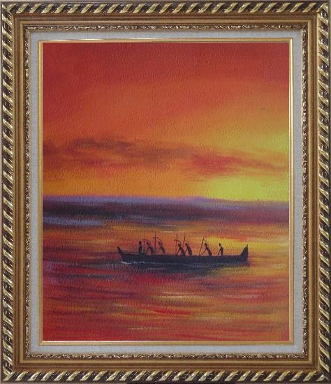 Framed Boating Oil Painting Seascape Modern Exquisite Gold Wood Frame 30 x 26 Inches
