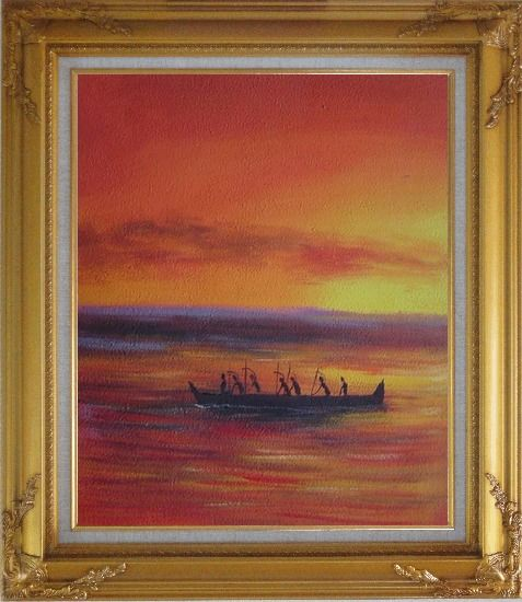 Framed Boating Oil Painting Seascape Modern Gold Wood Frame with Deco Corners 31 x 27 Inches