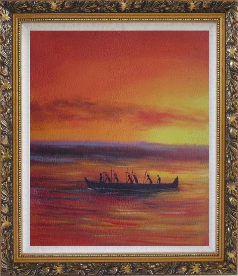 Framed Boating Oil Painting Seascape Modern Ornate Antique Dark Gold Wood Frame 30 x 26 Inches