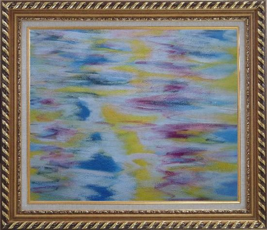 Framed Yellow, Blue, Pink Waves of Lake Oil Painting Seascape Modern Exquisite Gold Wood Frame 26 x 30 Inches