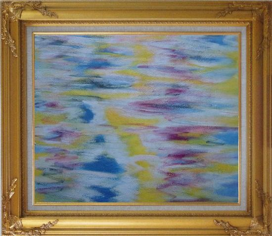 Framed Yellow, Blue, Pink Waves of Lake Oil Painting Seascape Modern Gold Wood Frame with Deco Corners 27 x 31 Inches