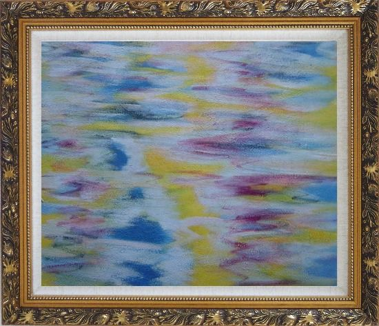 Framed Yellow, Blue, Pink Waves of Lake Oil Painting Seascape Modern Ornate Antique Dark Gold Wood Frame 26 x 30 Inches