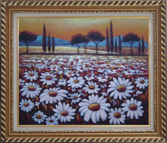 Framed White Daisy Field Oil Painting Landscape Naturalism Exquisite Gold Wood Frame 26 x 30 Inches