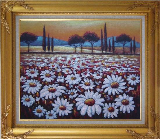Framed White Daisy Field Oil Painting Landscape Naturalism Gold Wood Frame with Deco Corners 27 x 31 Inches