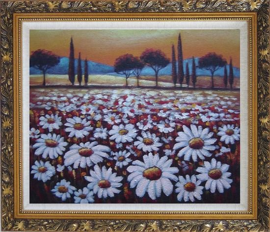 Framed White Daisy Field Oil Painting Landscape Naturalism Ornate Antique Dark Gold Wood Frame 26 x 30 Inches