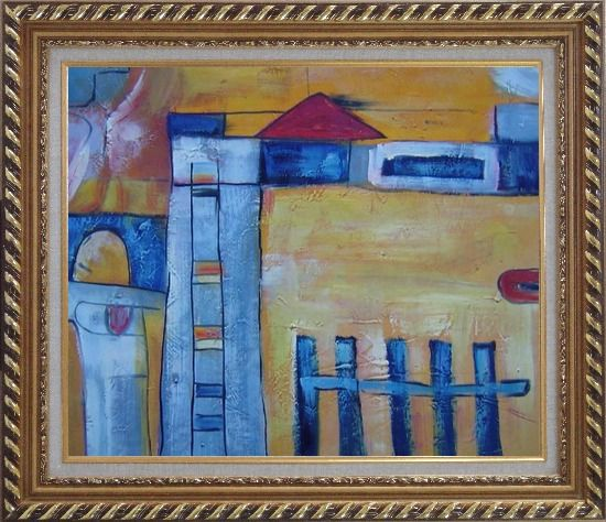 Framed Safety Fence in Front of Farm House Oil Painting Village Modern Exquisite Gold Wood Frame 26 x 30 Inches
