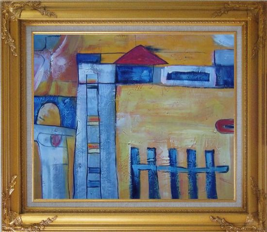 Framed Safety Fence in Front of Farm House Oil Painting Village Modern Gold Wood Frame with Deco Corners 27 x 31 Inches
