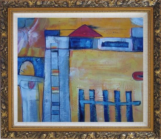 Framed Safety Fence in Front of Farm House Oil Painting Village Modern Ornate Antique Dark Gold Wood Frame 26 x 30 Inches