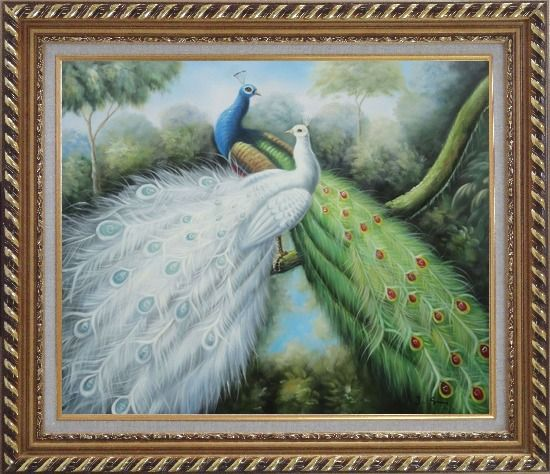 Framed Blue and White Peacock Pair In Garden Tree Oil Painting Animal Naturalism Exquisite Gold Wood Frame 26 x 30 Inches