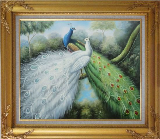 Framed Blue and White Peacock Pair In Garden Tree Oil Painting Animal Naturalism Gold Wood Frame with Deco Corners 27 x 31 Inches