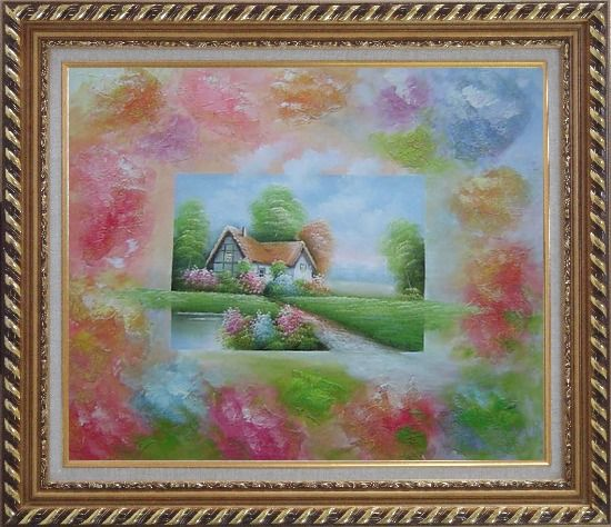 Framed Lakeside Cabin in Flower-land Oil Painting Village Modern Exquisite Gold Wood Frame 26 x 30 Inches