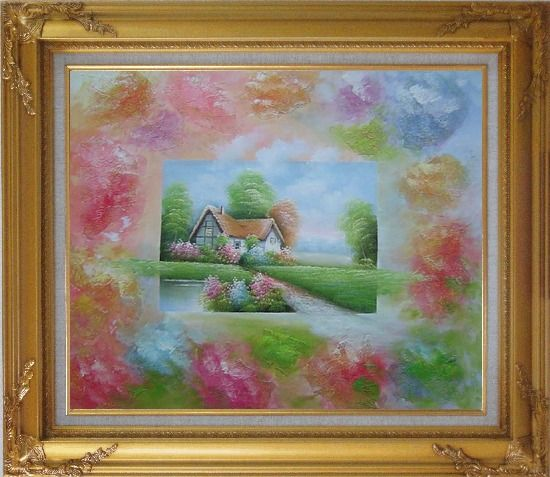Framed Lakeside Cabin in Flower-land Oil Painting Village Modern Gold Wood Frame with Deco Corners 27 x 31 Inches