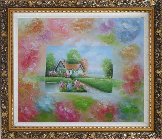 Framed Lakeside Cabin in Flower-land Oil Painting Village Modern Ornate Antique Dark Gold Wood Frame 26 x 30 Inches