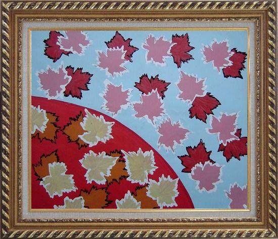 Framed Red Maple Leaf Modern Oil Painting Flower Exquisite Gold Wood Frame 26 x 30 Inches