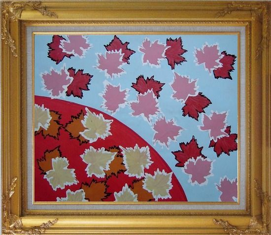 Framed Red Maple Leaf Modern Oil Painting Flower Gold Wood Frame with Deco Corners 27 x 31 Inches
