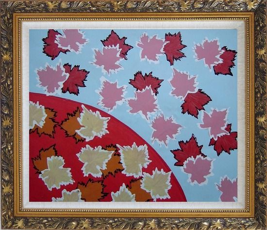 Framed Red Maple Leaf Modern Oil Painting Flower Ornate Antique Dark Gold Wood Frame 26 x 30 Inches