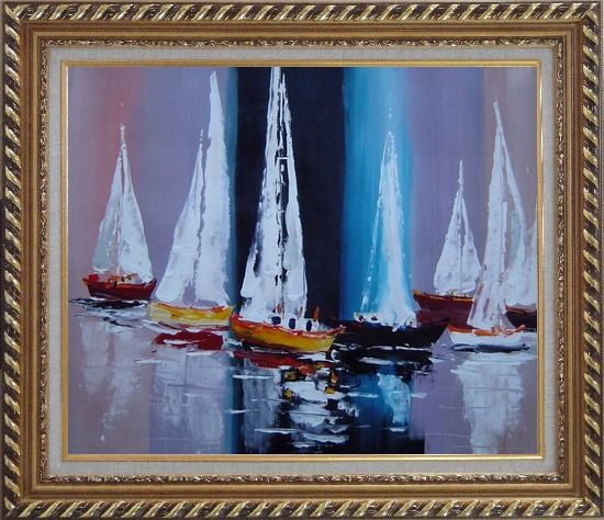 Framed Fully Riggled Sailing Boats Modern Oil Painting Boating Exquisite Gold Wood Frame 26 x 30 Inches