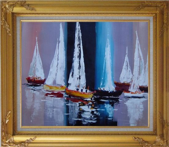 Framed Fully Riggled Sailing Boats Modern Oil Painting Boating Gold Wood Frame with Deco Corners 27 x 31 Inches