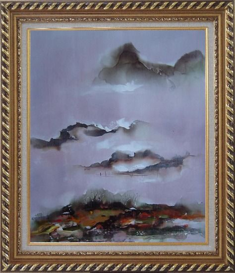 Framed Mountains and Village in Clouds Oil Painting Landscape Asian Exquisite Gold Wood Frame 30 x 26 Inches