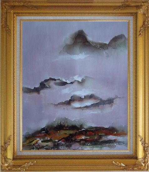 Framed Mountains and Village in Clouds Oil Painting Landscape Asian Gold Wood Frame with Deco Corners 31 x 27 Inches
