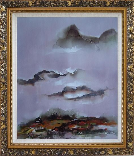 Framed Mountains and Village in Clouds Oil Painting Landscape Asian Ornate Antique Dark Gold Wood Frame 30 x 26 Inches