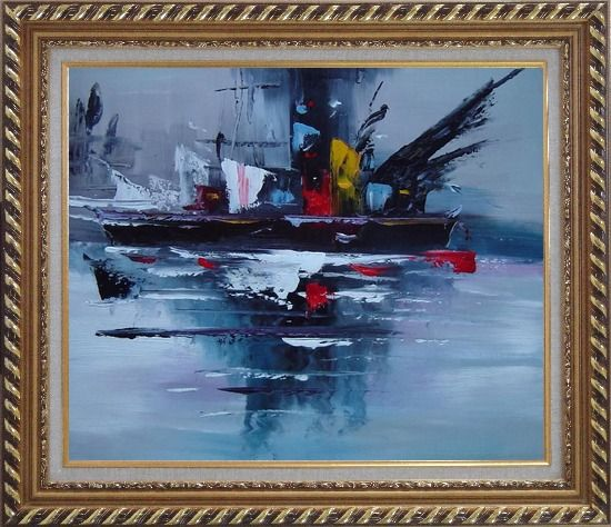 Framed Modern Harbor-side Ship Oil Painting Boat Exquisite Gold Wood Frame 26 x 30 Inches
