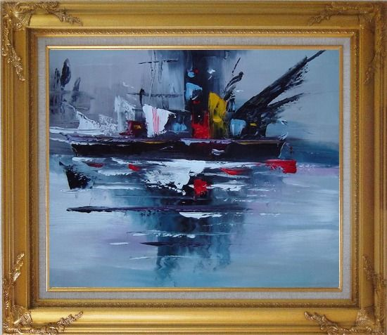 Framed Modern Harbor-side Ship Oil Painting Boat Gold Wood Frame with Deco Corners 27 x 31 Inches