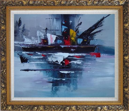 Framed Modern Harbor-side Ship Oil Painting Boat Ornate Antique Dark Gold Wood Frame 26 x 30 Inches