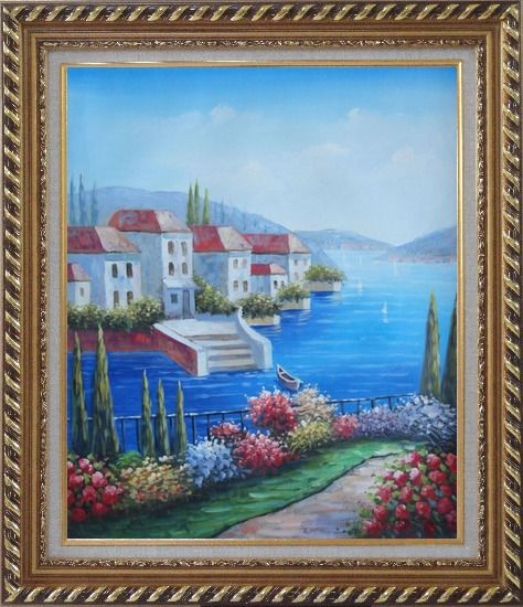 Framed Mediterranean Seaside Villa Oil Painting Naturalism Exquisite Gold Wood Frame 30 x 26 Inches