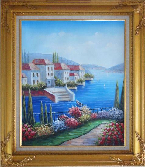 Framed Mediterranean Seaside Villa Oil Painting Naturalism Gold Wood Frame with Deco Corners 31 x 27 Inches