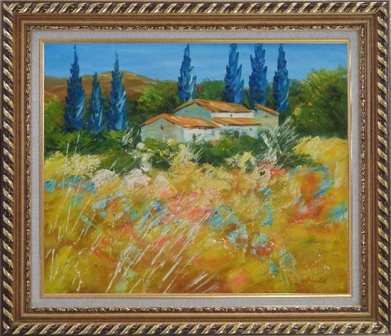Framed Countryside Houses and Fields Scenery Oil Painting Village Impressionism Exquisite Gold Wood Frame 26 x 30 Inches