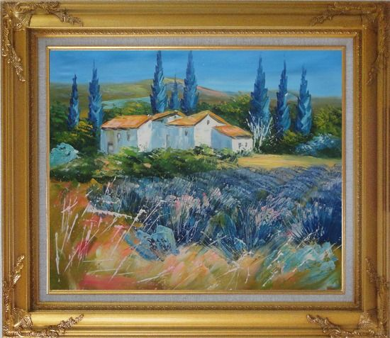Framed Countryside Houses and Fields Scenery Oil Painting Village Impressionism Gold Wood Frame with Deco Corners 27 x 31 Inches