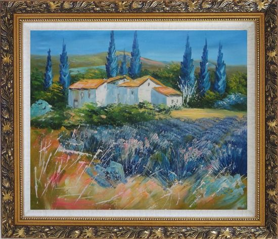 Framed Countryside Houses and Fields Scenery Oil Painting Village Impressionism Ornate Antique Dark Gold Wood Frame 26 x 30 Inches