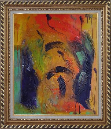 Framed Sounds of Music Modern Oil Painting Nonobjective Exquisite Gold Wood Frame 30 x 26 Inches