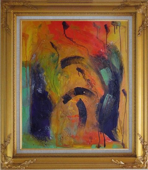 Framed Sounds of Music Modern Oil Painting Nonobjective Gold Wood Frame with Deco Corners 31 x 27 Inches
