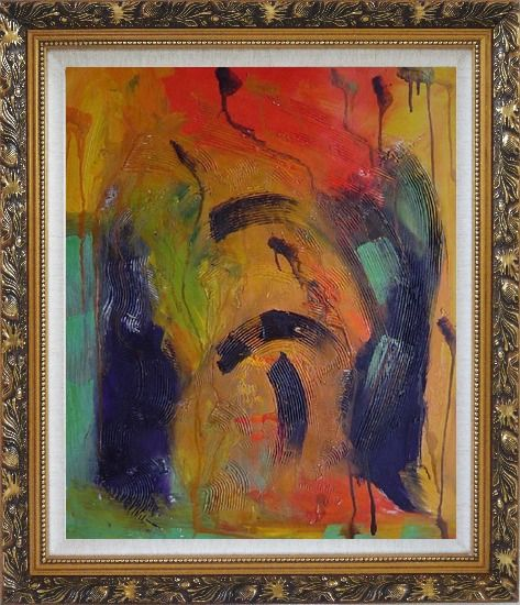 Framed Sounds of Music Modern Oil Painting Nonobjective Ornate Antique Dark Gold Wood Frame 30 x 26 Inches