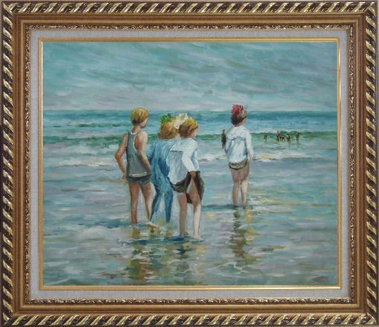 Framed Summer day, Brighton Beach, Edward Henry Potthast Replica Oil Painting Portraits Child Impressionism Exquisite Gold Wood Frame 26 x 30 Inches