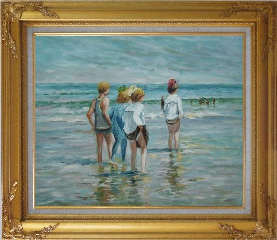 Framed Summer day, Brighton Beach, Edward Henry Potthast Replica Oil Painting Portraits Child Impressionism Gold Wood Frame with Deco Corners 27 x 31 Inches