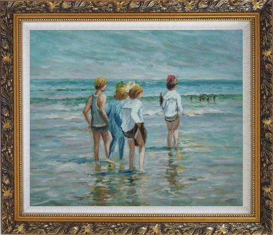 Framed Summer day, Brighton Beach, Edward Henry Potthast Replica Oil Painting Portraits Child Impressionism Ornate Antique Dark Gold Wood Frame 26 x 30 Inches