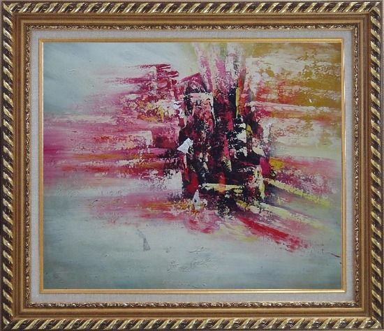 Framed Metropolitan Modern Oil Painting Cityscape Exquisite Gold Wood Frame 26 x 30 Inches