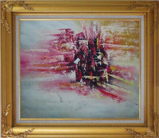 Framed Metropolitan Modern Oil Painting Cityscape Gold Wood Frame with Deco Corners 27 x 31 Inches