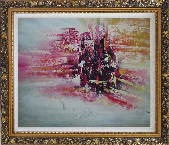 Framed Metropolitan Modern Oil Painting Cityscape Ornate Antique Dark Gold Wood Frame 26 x 30 Inches