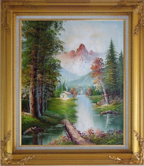 Framed Take to Home Bridge Oil Painting Landscape River Naturalism Gold Wood Frame with Deco Corners 31 x 27 Inches