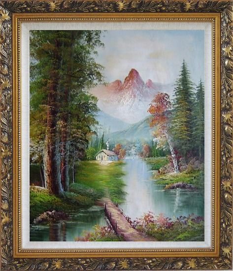 Framed Take to Home Bridge Oil Painting Landscape River Naturalism Ornate Antique Dark Gold Wood Frame 30 x 26 Inches