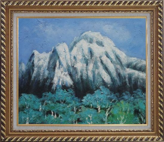Framed Snow Mountain, Green Tree and Blue Sky Oil Painting Landscape Impressionism Exquisite Gold Wood Frame 26 x 30 Inches