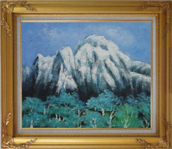 Framed Snow Mountain, Green Tree and Blue Sky Oil Painting Landscape Impressionism Gold Wood Frame with Deco Corners 27 x 31 Inches