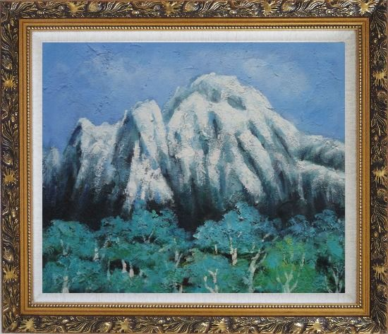 Framed Snow Mountain, Green Tree and Blue Sky Oil Painting Landscape Impressionism Ornate Antique Dark Gold Wood Frame 26 x 30 Inches